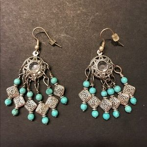 Silvertone and Turquoise colored Earrings